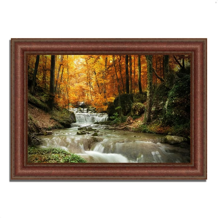 Framed Photograph Print 37 In. x 27 In. Autumn Stream Multi Color