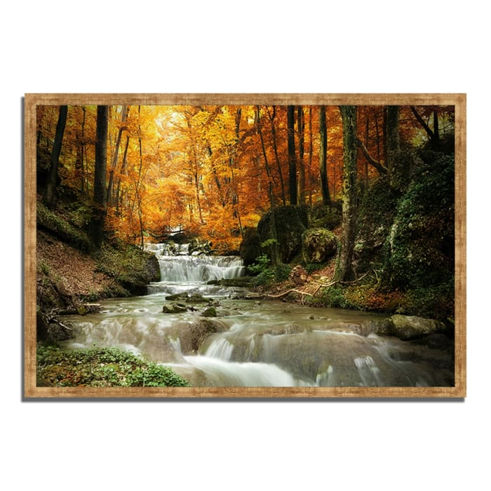 Framed Photograph Print 38 In. x 26 In. Autumn Stream Multi Color