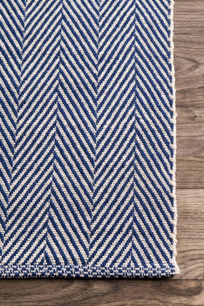 Hand Loomed Kimberely 8' x 10' Navy Cotton Rug