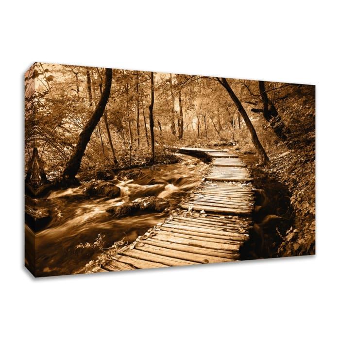 Fine Art Giclee Print on Gallery Wrap Canvas 30 In. x 20 In. Creekside Walk II Multi Color