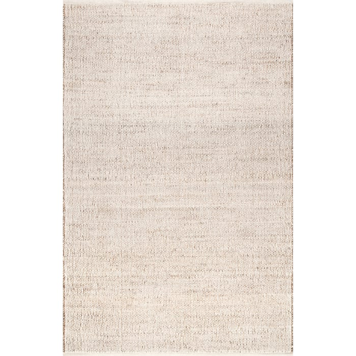 Handwoven Solid Elfriede 8' x 10' Natural Jute and Cotton Rug