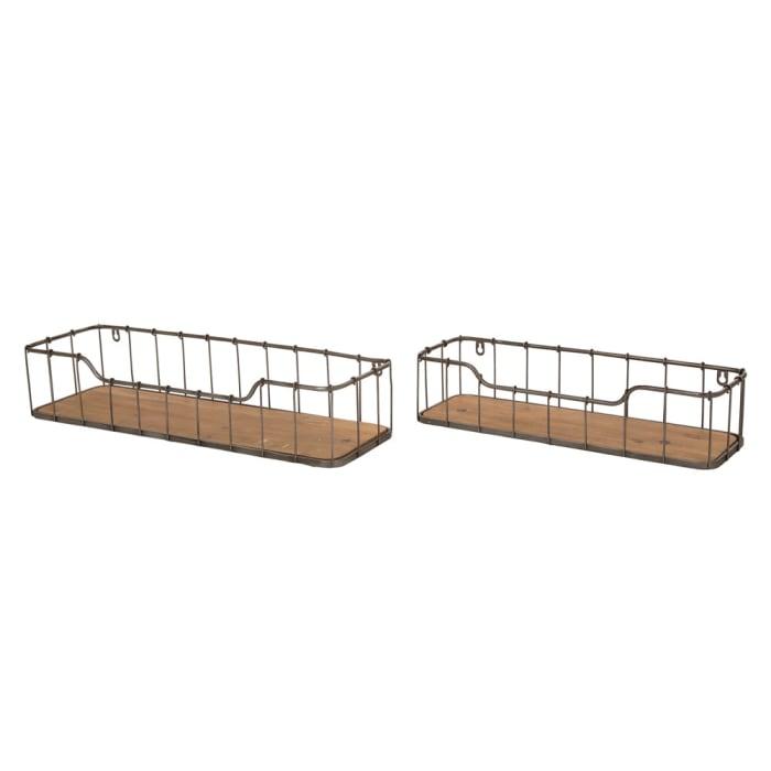 Rustic Farmhouse Metal Wall Shelves Set of 2
