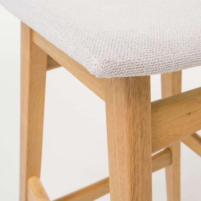 Oak Wood & Light Beige Circular 5-Piece Bar Height Dining Set