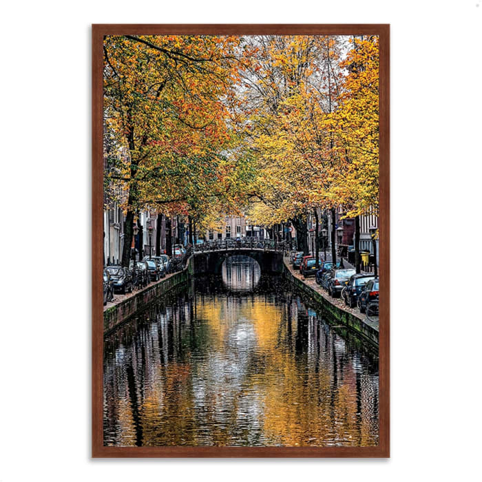 Framed Photograph Print 22 In. x 32 In. Canal Reflections Multi Color