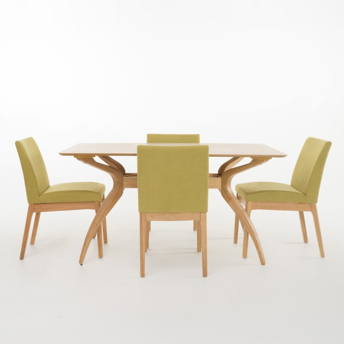 Oak Curved Leg 5-Piece Dining Set with Green Tea Upholstered Chairs
