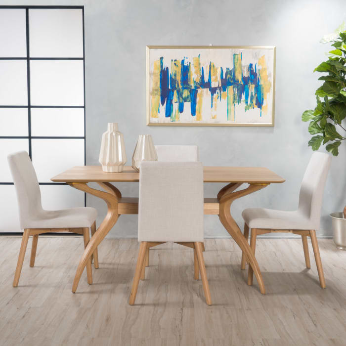 Oak & Light Beige Curved Leg 5-Piece Dining Set