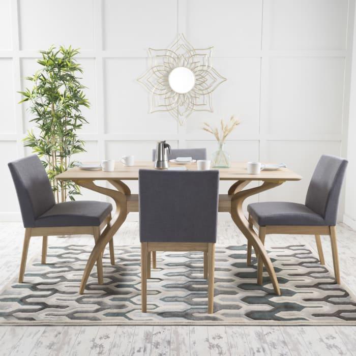 Walnut & Dark Gray Mid-Century 5-Piece Dining Set