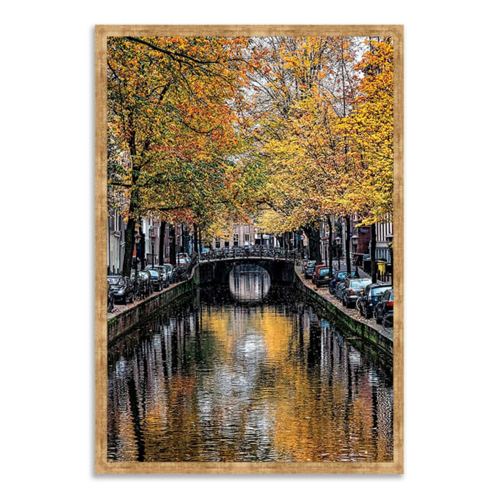 Framed Photograph Print 40 In. x 59 In. Canal Reflections Multi Color