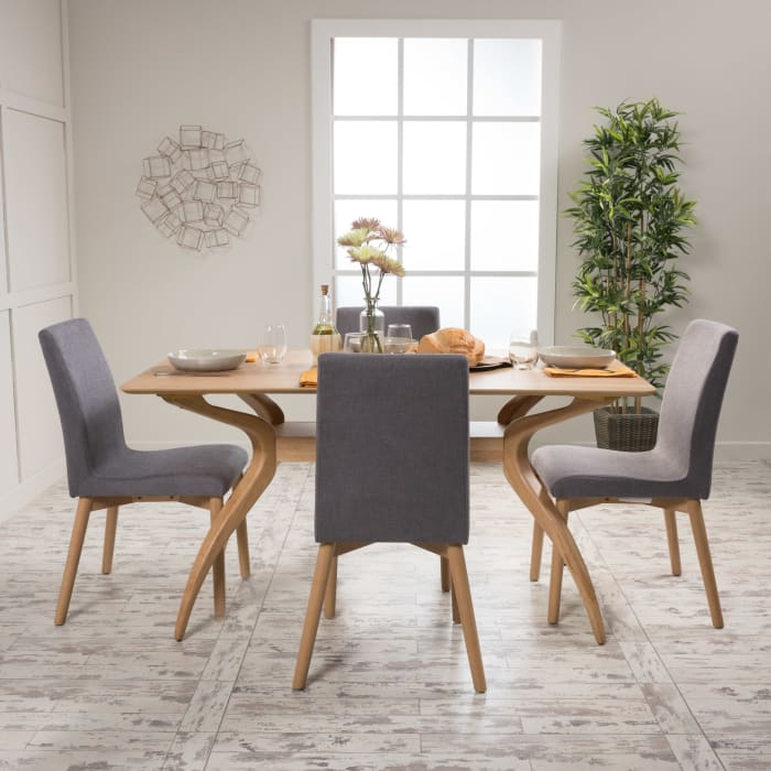 Oak & Dark Gray Curved Leg 5-Piece Dining Set
