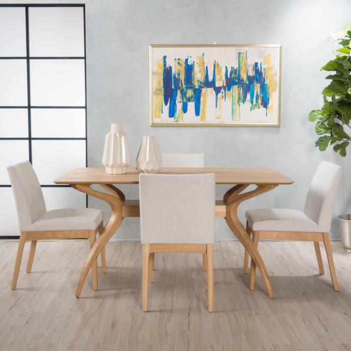 Oak & Light Beige Mid-Century 5-Piece Dining Set