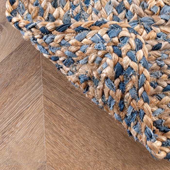 Hand Braided Eliz 8' x 10' Blue Cotton and Jute Rug