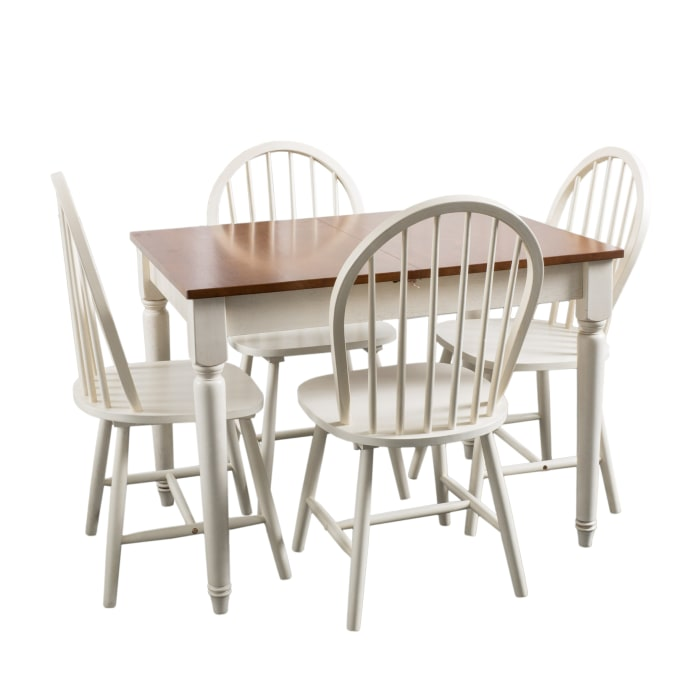 Antiqued White Wooden 5-Piece Dining Set
