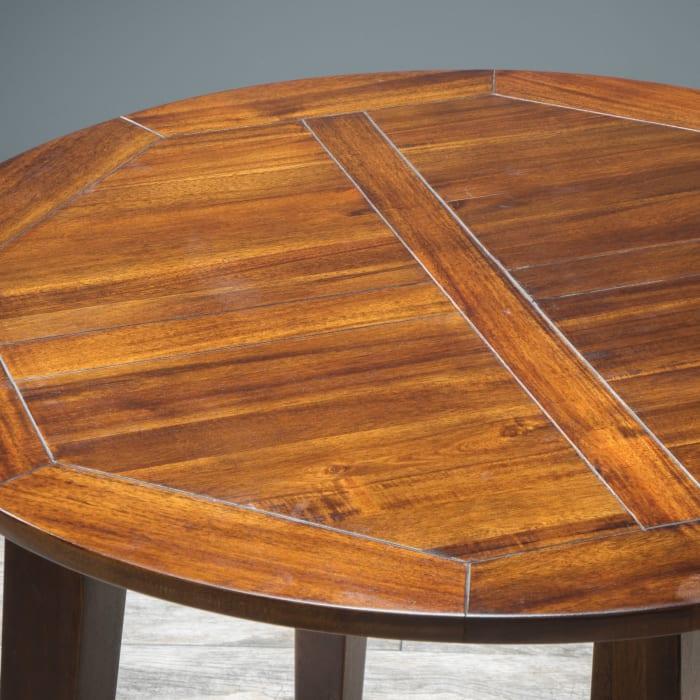 Round Acacia Wood 3 Piece Dining Set