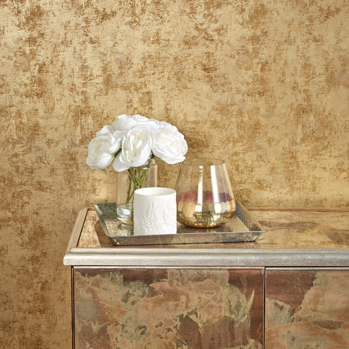 Distressed Gold Leaf Self-Adhesive Removable Wallpaper Double Roll