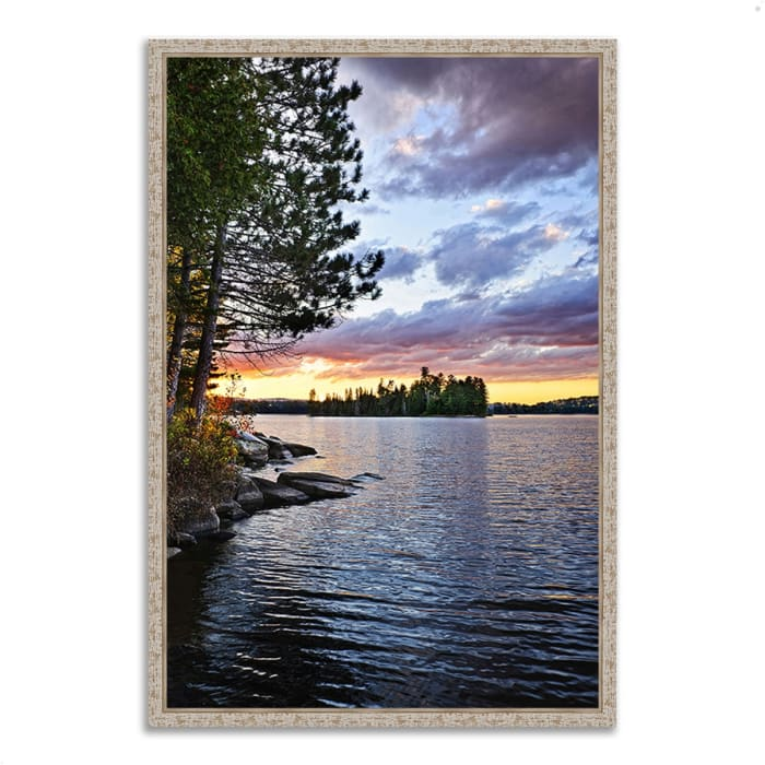 Fine Art Giclee Print on Gallery Wrap Canvas 22 In. x 32 In. Lake of the Two Rivers Multi Color