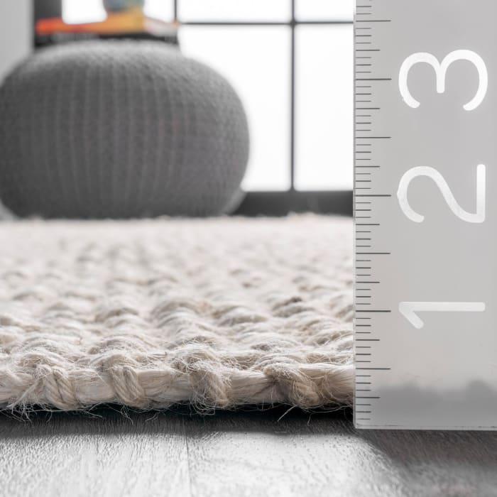 Hand Woven Chunky Loop Jute 5' x 8' Off White Jute Rug