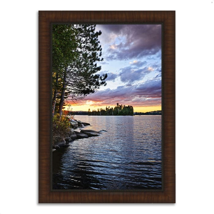Framed Photograph Print 26 In. x 36 In. Lake of the Two Rivers Multi Color
