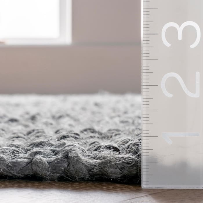 Hand Woven Chunky Loop Jute 3' x 12' Gray Jute Rug
