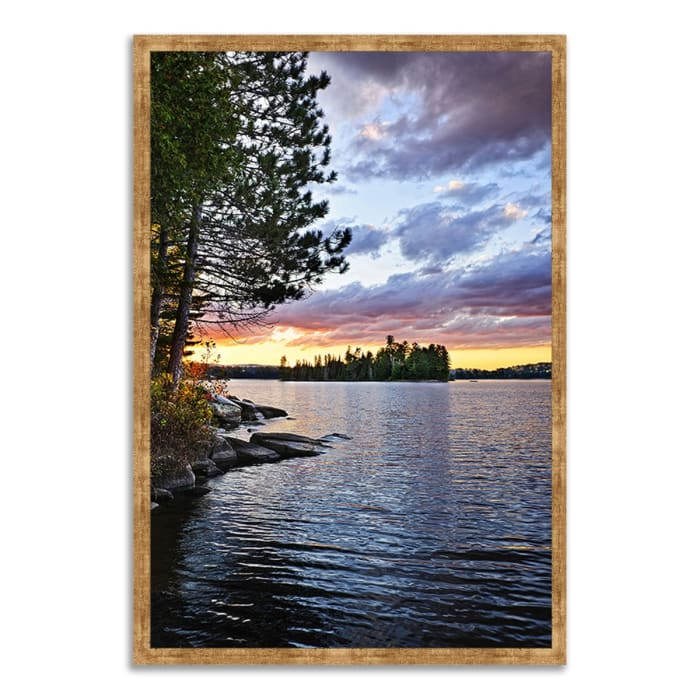 Framed Photograph Print 26 In. x 38 In. Lake of the Two Rivers Multi Color