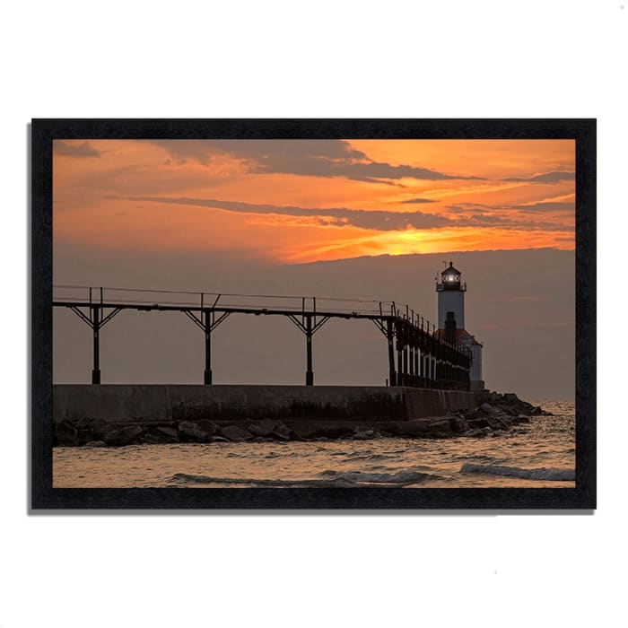 Framed Photograph Print 33 In. x 23 In. Michigan City East Pierhead Multi Color