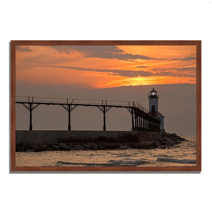 Framed Photograph Print 38 In. x 26 In. Michigan City East Pierhead Multi Color