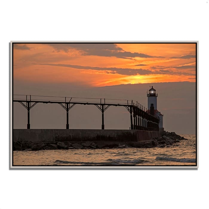 Fine Art Giclee Print on Gallery Wrap Canvas 47 In. x 32 In. Michigan City East Pierhead Multi Color