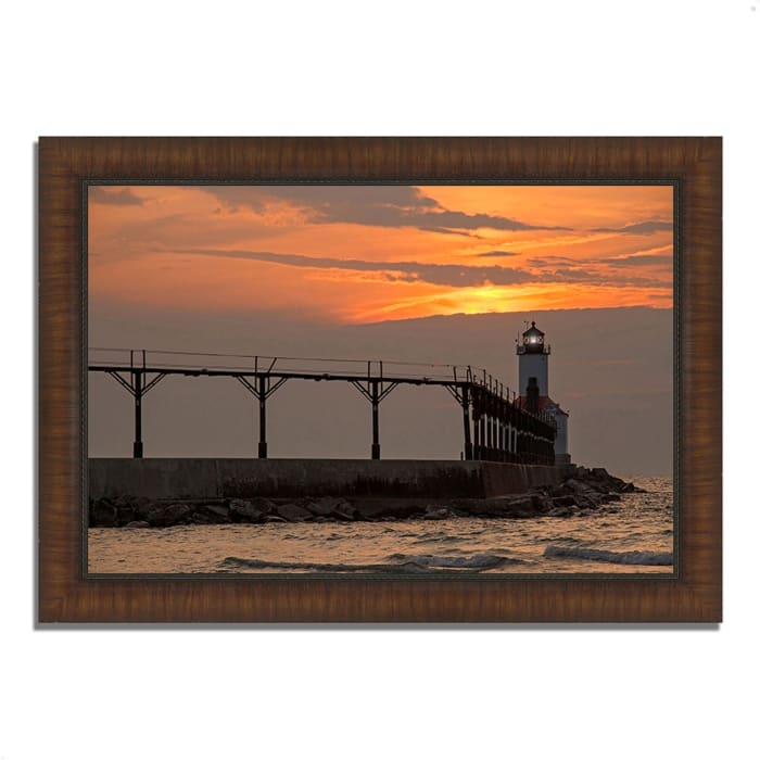 Framed Photograph Print 51 In. x 36 In. Michigan City East Pierhead Multi Color