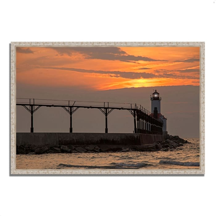 Fine Art Giclee Print on Gallery Wrap Canvas 32 In. x 22 In. Michigan City East Pierhead Multi Color