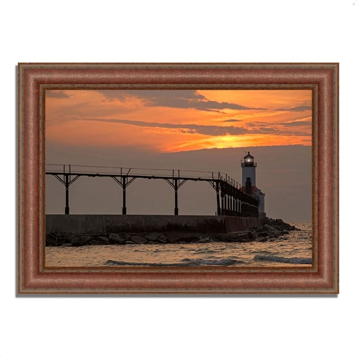 Framed Photograph Print 43 In. x 31 In. Michigan City East Pierhead Multi Color