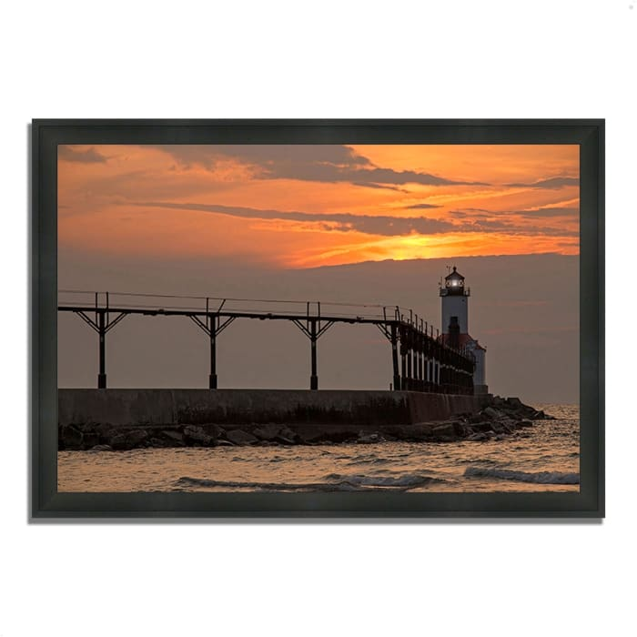 Framed Photograph Print 39 In. x 27 In. Michigan City East Pierhead Multi Color