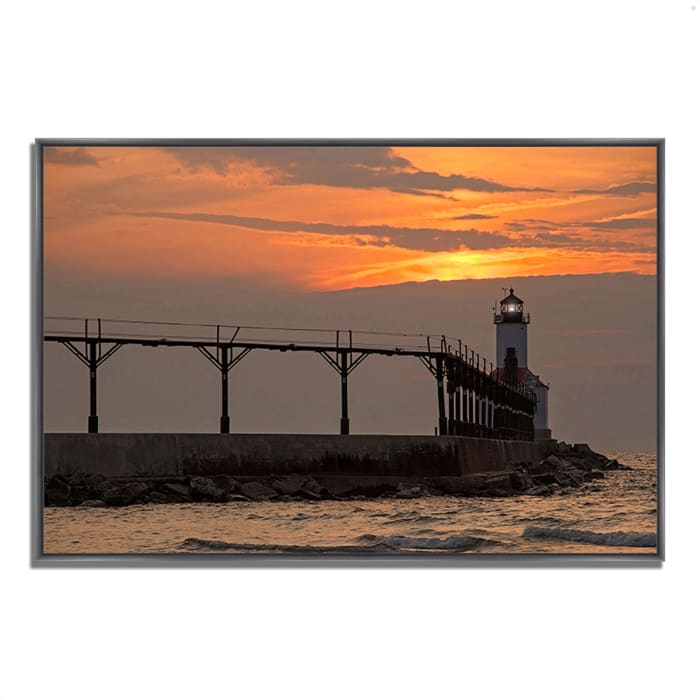 Fine Art Giclee Print on Gallery Wrap Canvas 38 In. x 26 In. Michigan City East Pierhead Multi Color