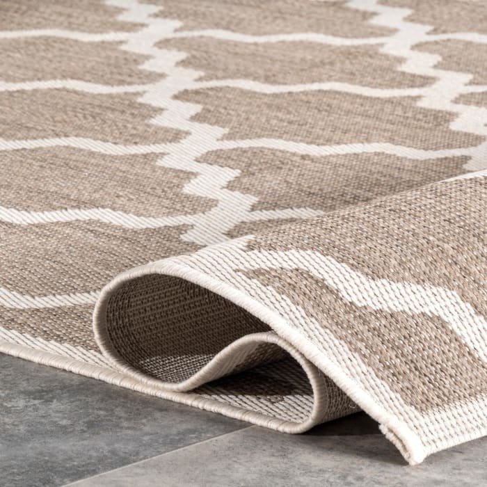 Machine Made Gina Outdoor Moroccan Trellis 5' x 8' Taupe Rug