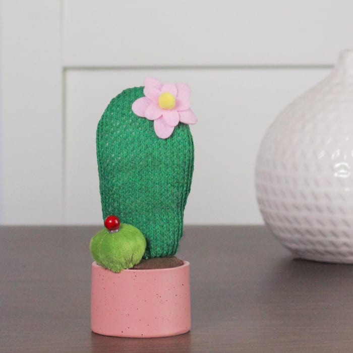 Forest Green Plush Cactus in Pink Pot