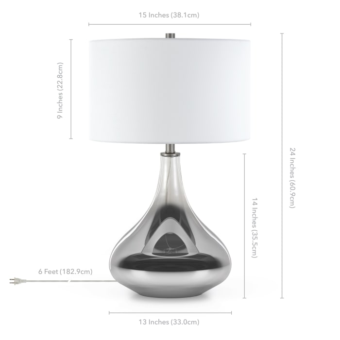 Mirabella Smoked Chrome Ombre Glass Table Lamp