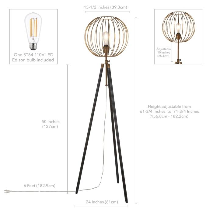 Paramon Antique Brass Cage Tripod Floor Lamp