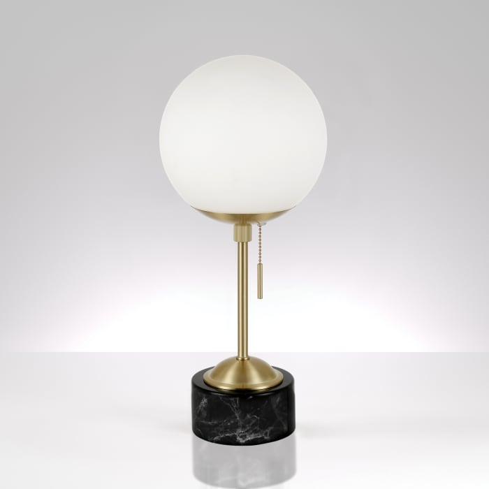 Reagan Brass and Marble Table Lamp with White Globe Shade