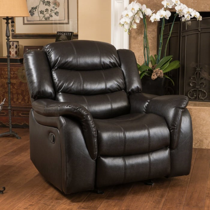 Black Faux Leather Gliding Recliner Chair