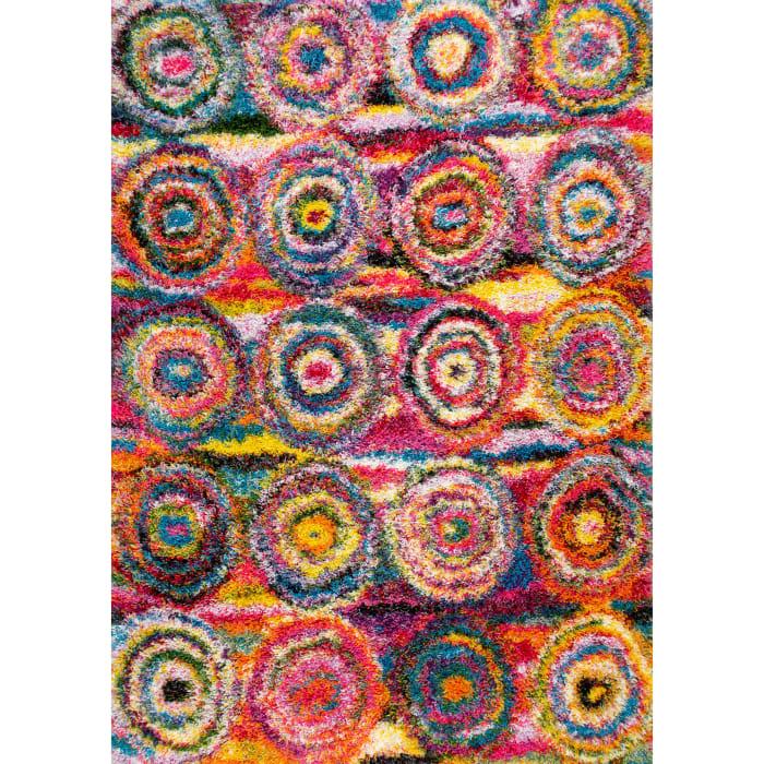Kindra Circles Shaggy 5' x 8' Multi Rug