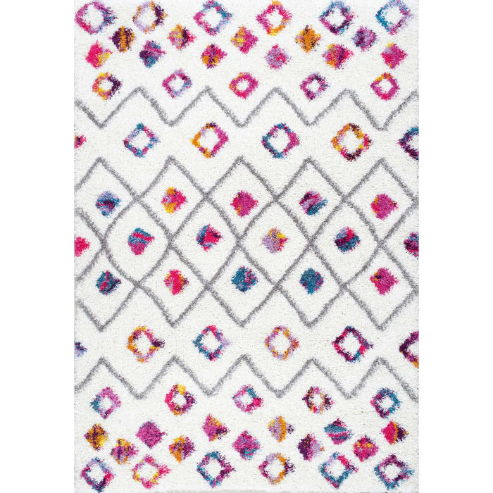 Tatyana Moroccan Diamond Trellis Shaggy 5' x 8' Pink Rug