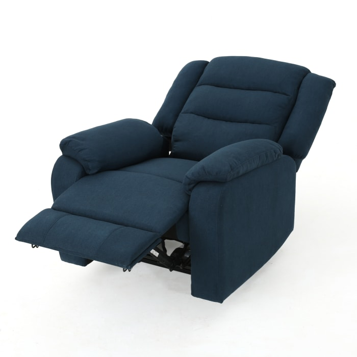 Classic Navy Blue Upholstered Power Recliner