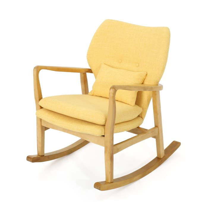 Mid Century Modern Muted Yellow Rocking Chair