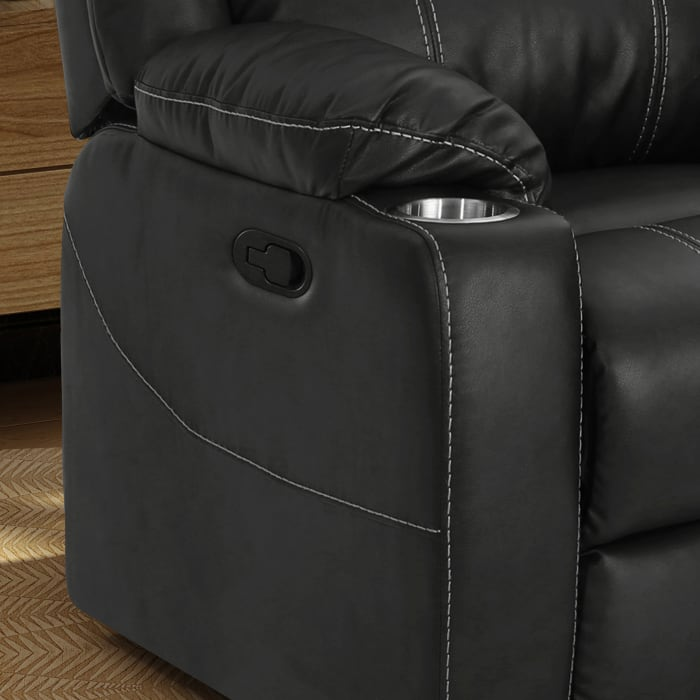Traditional Black Leather Recliner with Steel Cup Holders