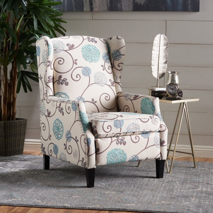 White & Blue Floral Traditional Recliner