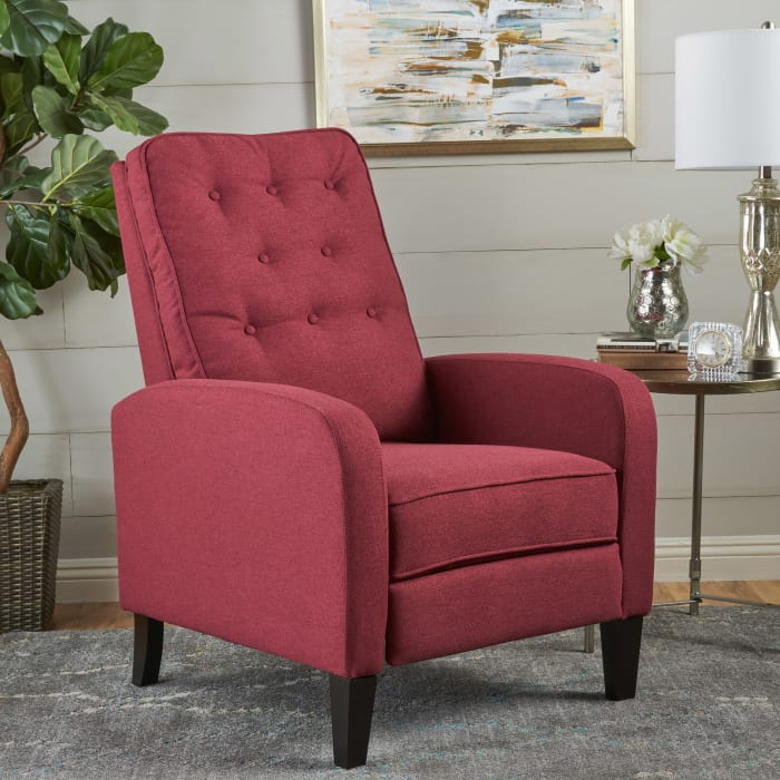 Deep Red Tufted Recliner
