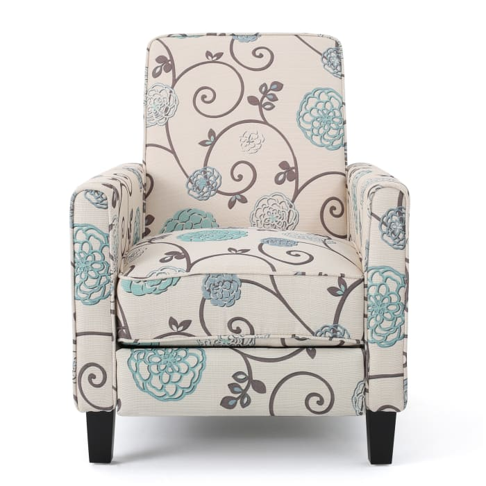 White & Blue Upholstered Recliner