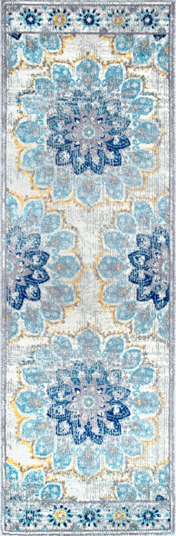 Vintage Floral Kiyoko 7' x 9' Blue Rug