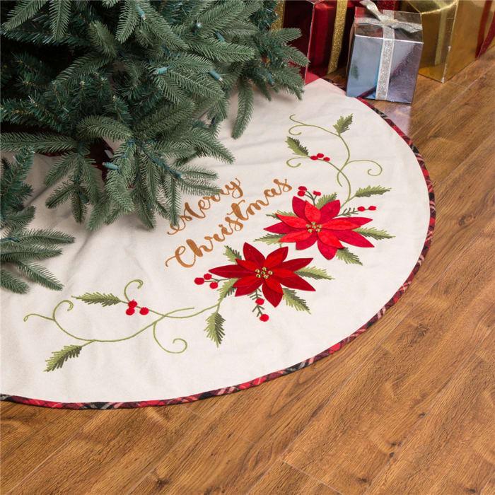 Christmas Poinsettia Tree Skirt