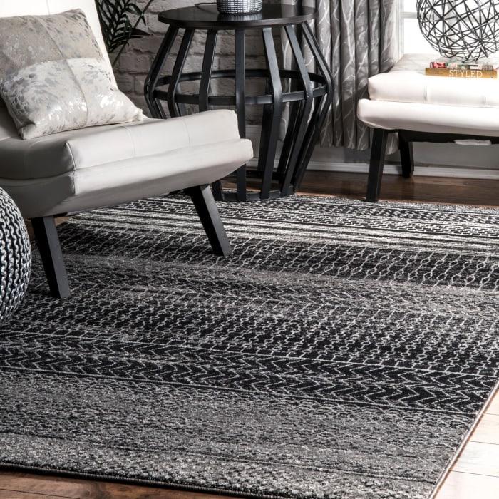 Nova Stripes 5' x 8' Dark Gray Rug