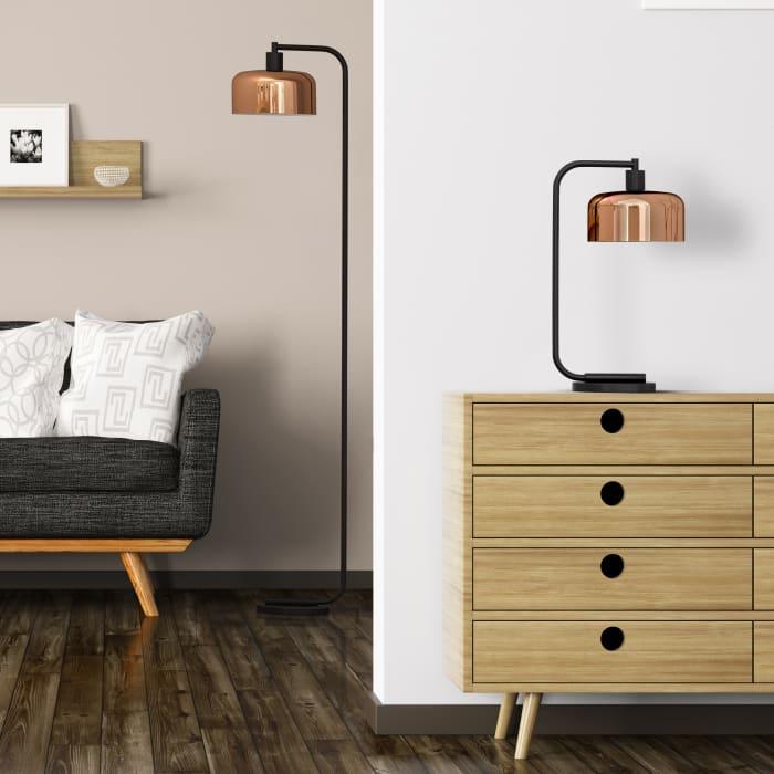 Cadmus Blackened Bronze Floor Lamp with Copper Shade