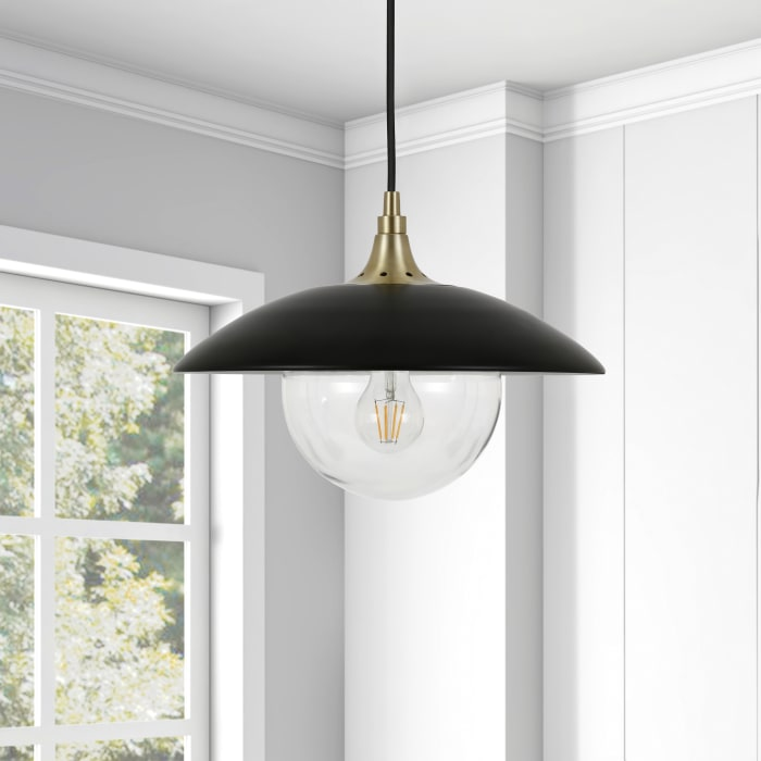 Alvia Matte Black Metal and Clear Glass Pendant with Brass Accents